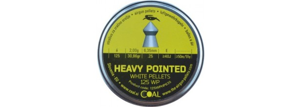 COAL AIRGUN PELLETS 125WP HEAVY POINTED 6.35mm (2,00grs)