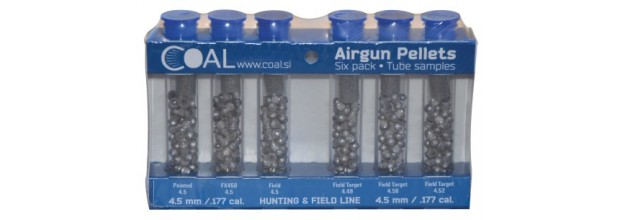 COAL AIRGUN PELLETS 6 PACK TUBE HUNTING & FIELD 4.5mm