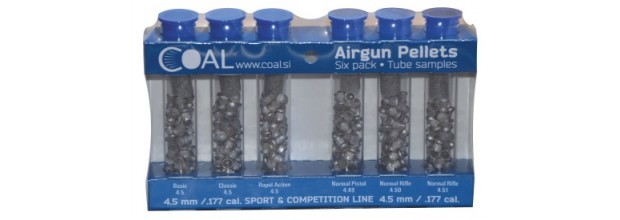 COAL AIRGUN PELLETS 6 PACK TUBE SPORT & COMPETITION 4.5mm