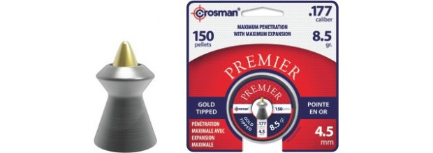 CROSMAN AIRGUN PELLETS GOLD TIPPED POINTED 5.5mm (17,4grs)