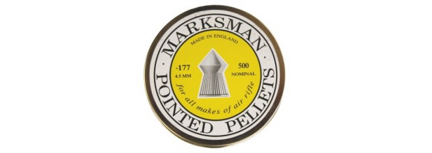 MARKSMAN AIRGUN PELLETS POINTED 4,5mm TIN